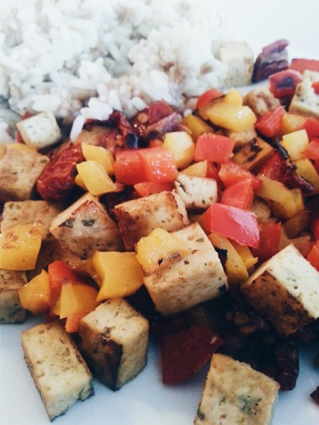 tofu, vegetables and grains