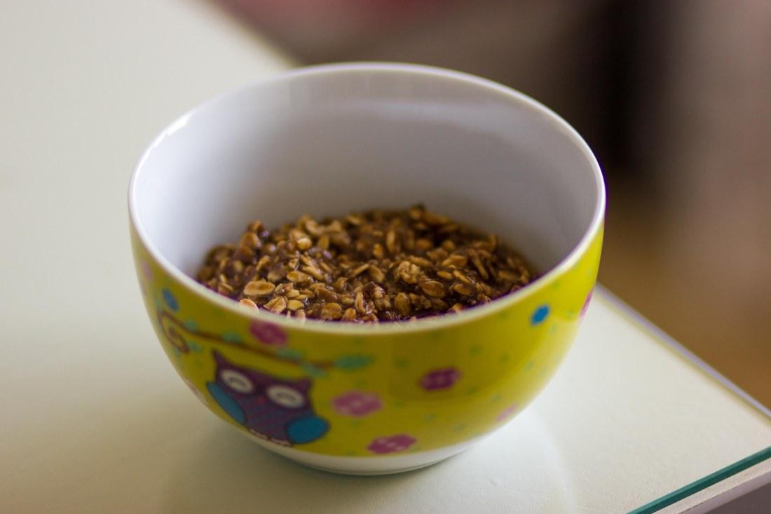 Carob oatmeal breakfast